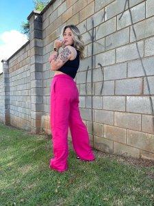 Wide Leg Moletom Pink Barbie-2